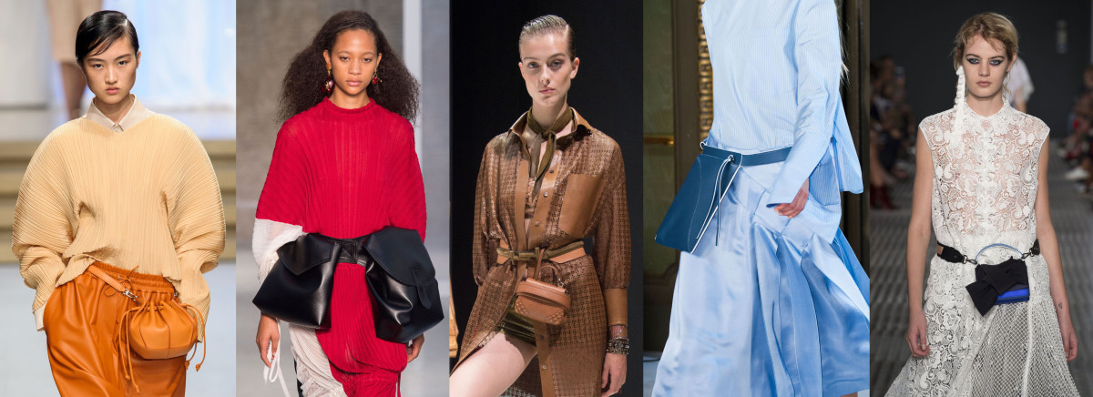 Looks from L-R: Jil Sander, Marni, Tod's, Colangelo and No. 21. Photos: Imaxtree