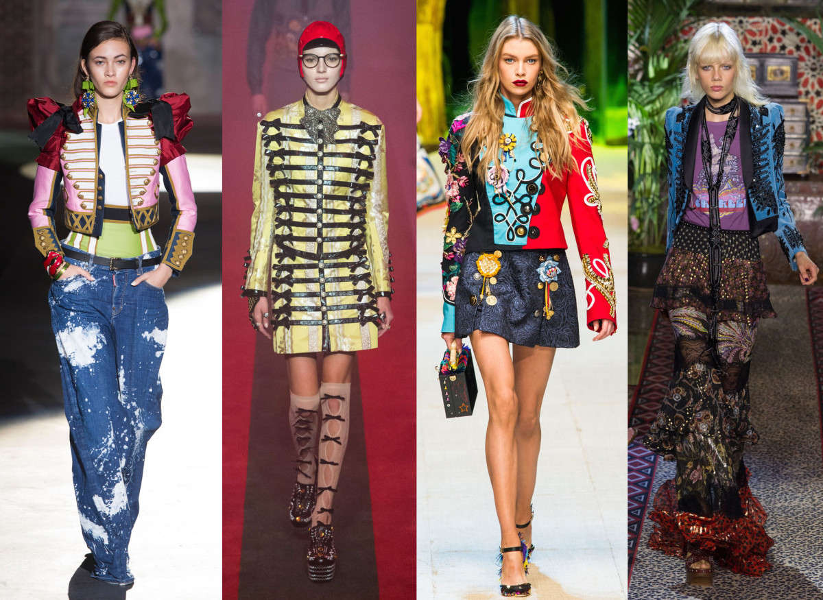 Looks from L-R: Dsquared2, Gucci, Dolce & Gabbana and Roberto Cavalli. Photos: Imaxtree