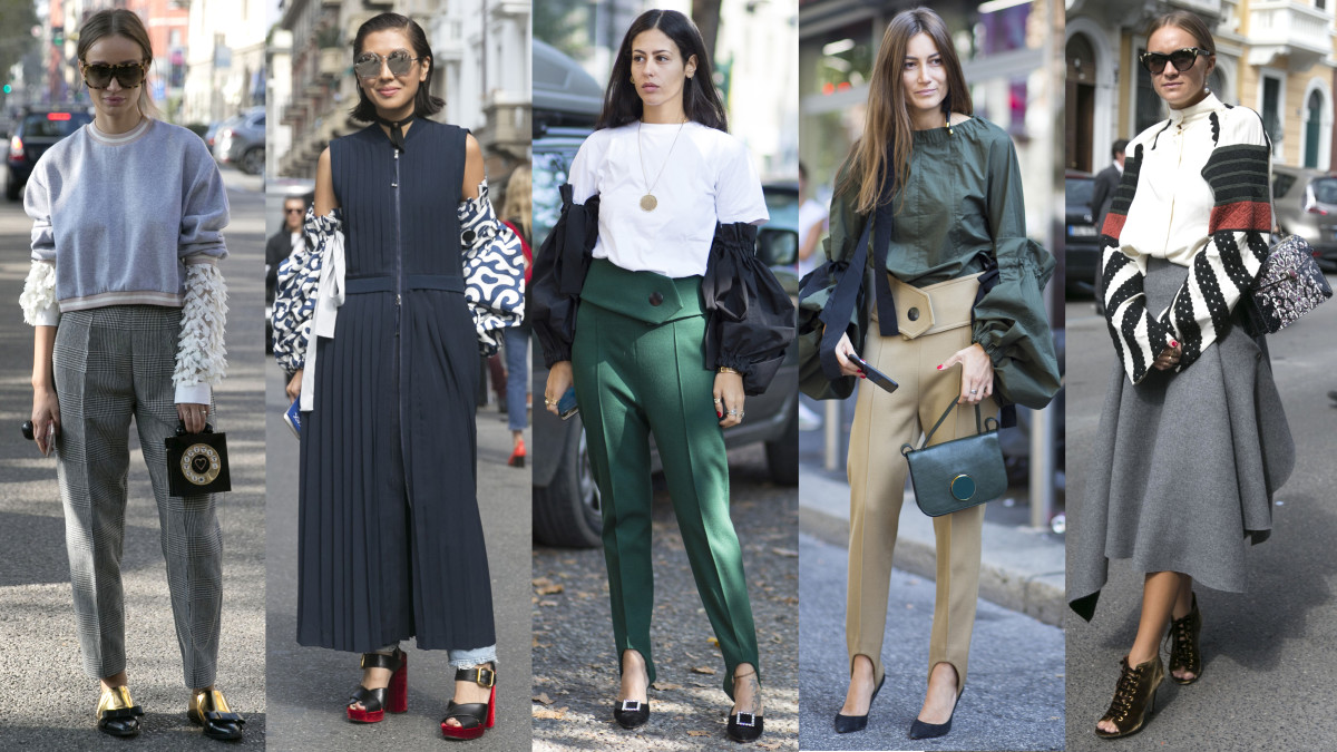 Cool fun sleeves on the streets of Milan. Photos from left to right: Emily Malan/Fashionista (2), Chiara Marina Grioni/Fashionista (2), Emily Malan/Fashionista