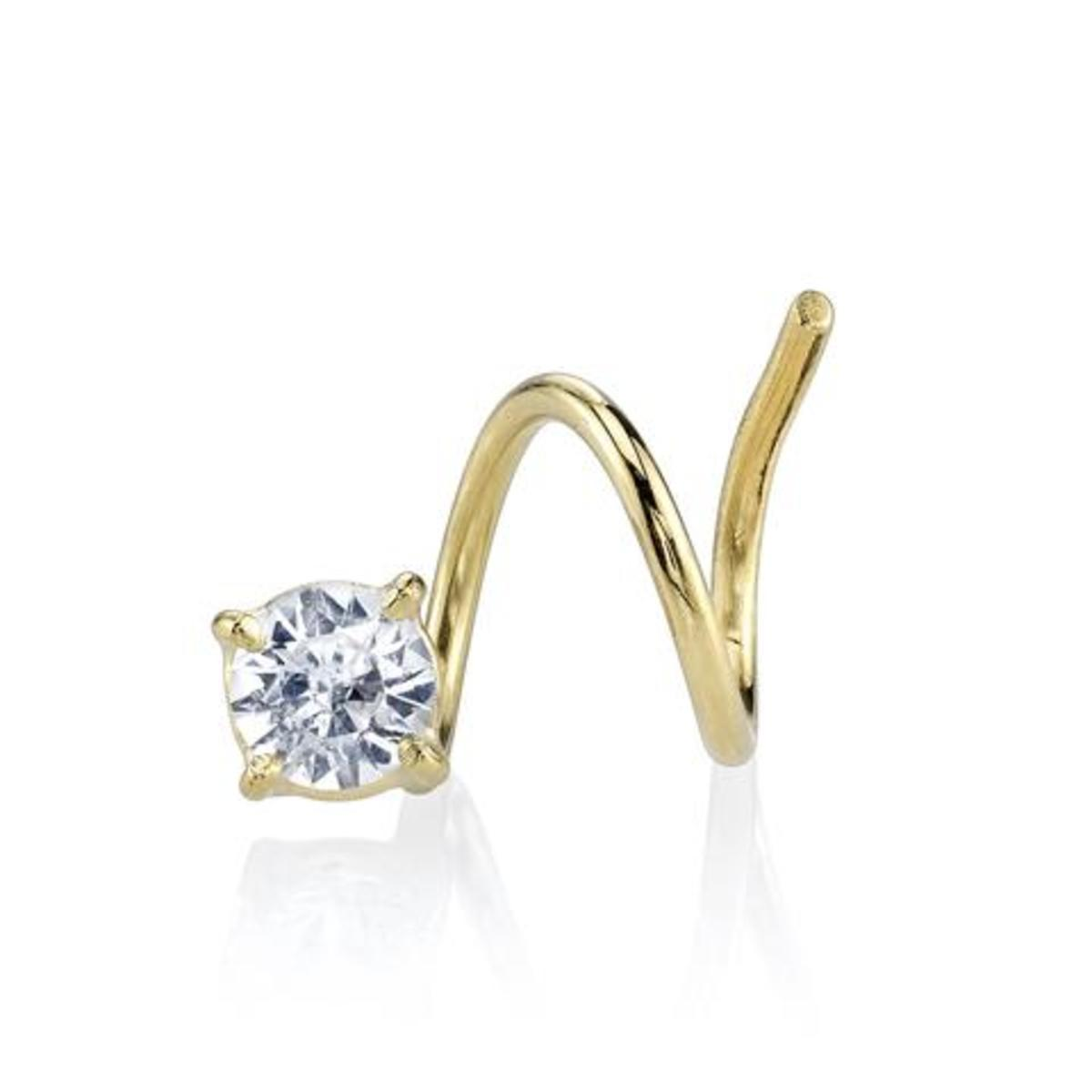 Smith & Mara White Sapphire Round Spiral Earring, $190, available at SmithandMara.com.