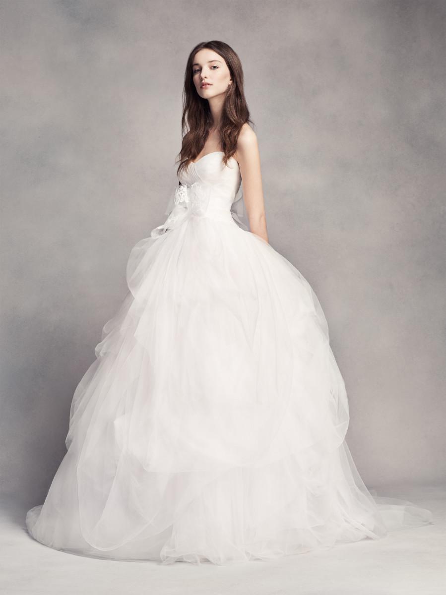 White by Vera Wang Hand-Draped Tulle Wedding Dress. Photo: David's Bridal