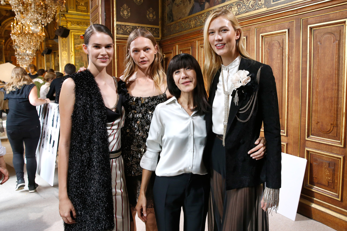 Bouchra Jarrar with models after the Lanvin show. Photo:Bertrand Rindoff Petroff/Getty Images