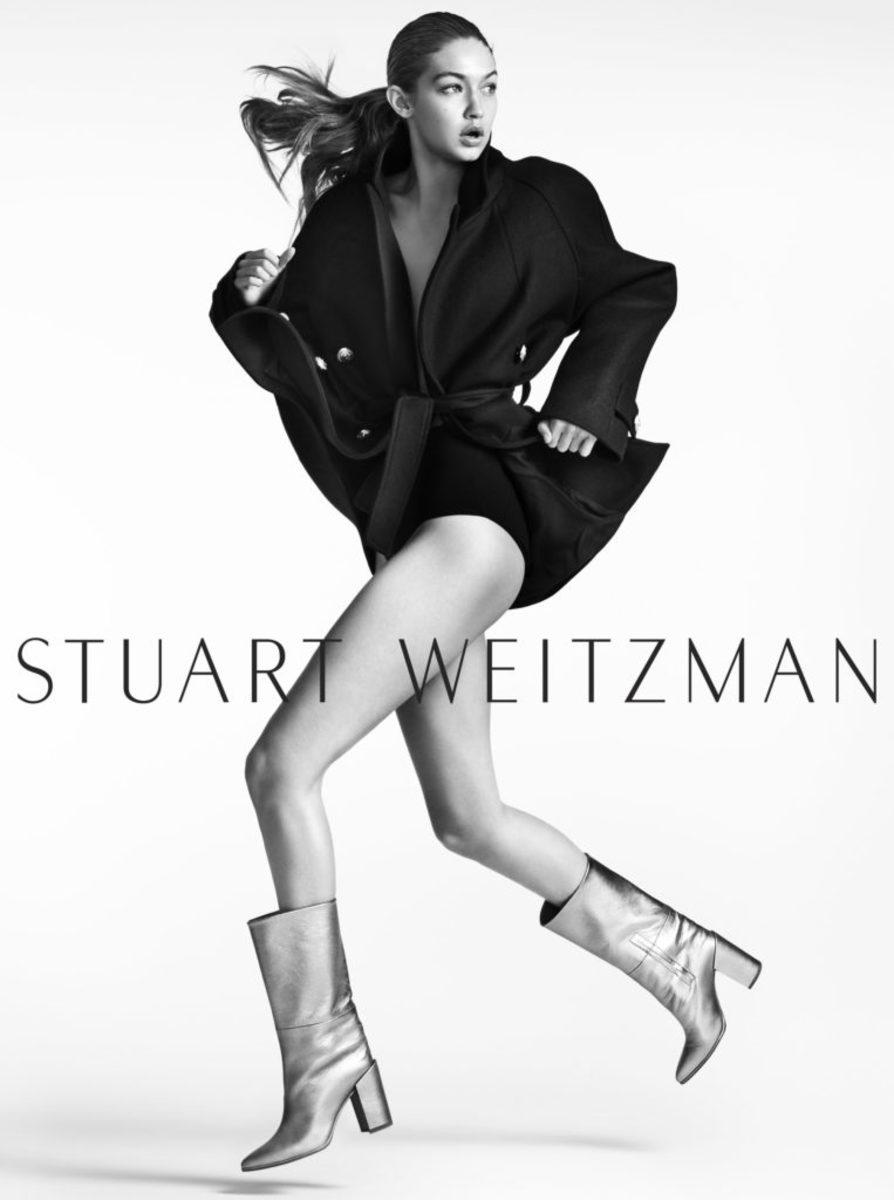 Gigi Hadid inthe Straighten Boot for Stuart Weitzman's fall 2016 campaign. Photo: Stuart Weitzman