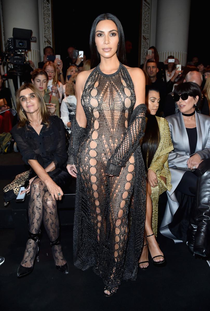 Kim Kardashian at the Balmain spring 2017 show during Paris Fashion Week.Photo:Pascal Le Segretain/Getty Images