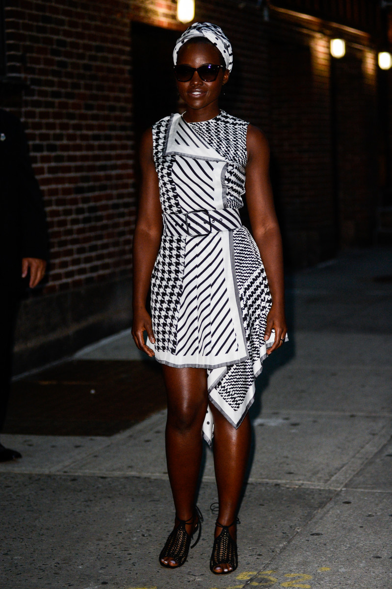 "Lupita Nyong'o leaving ""The Late Show With Stephen Colbert"" on Thursday in New York City. Photo: Ray Tamarra/GC Images"
