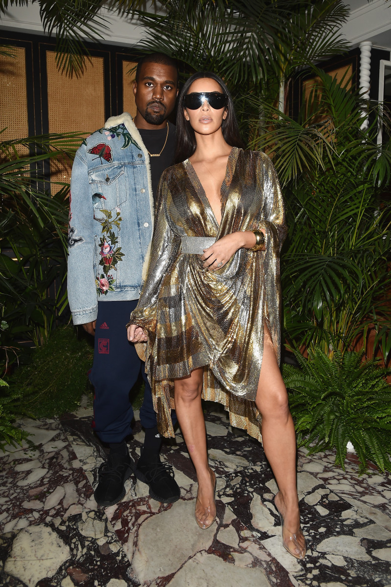 Kanye West and Kim Kardashian at Balmain's spring 2017 after-party. Photo: Courtesy of Balmain