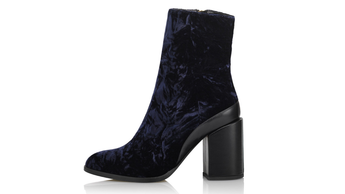 37b61223304 Chantal's Blue Velvet Ankle Booties - Fashionista