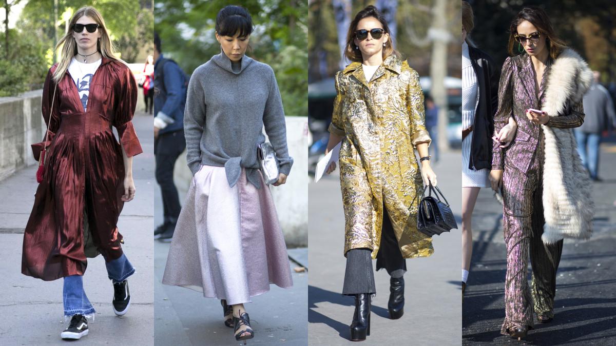 On the street at Paris Fashion Week. Photos: Emily Malan/Fashionisa (1), Chiara Marina Grioni/Fashionista (3)