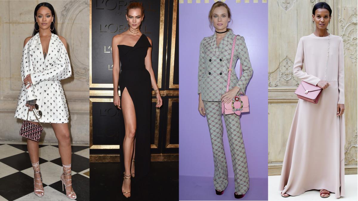 Rihanna, Karlie Kloss, Diane Kruger and Liya Kebede at Paris Fashion Week. Photo: Getty Images