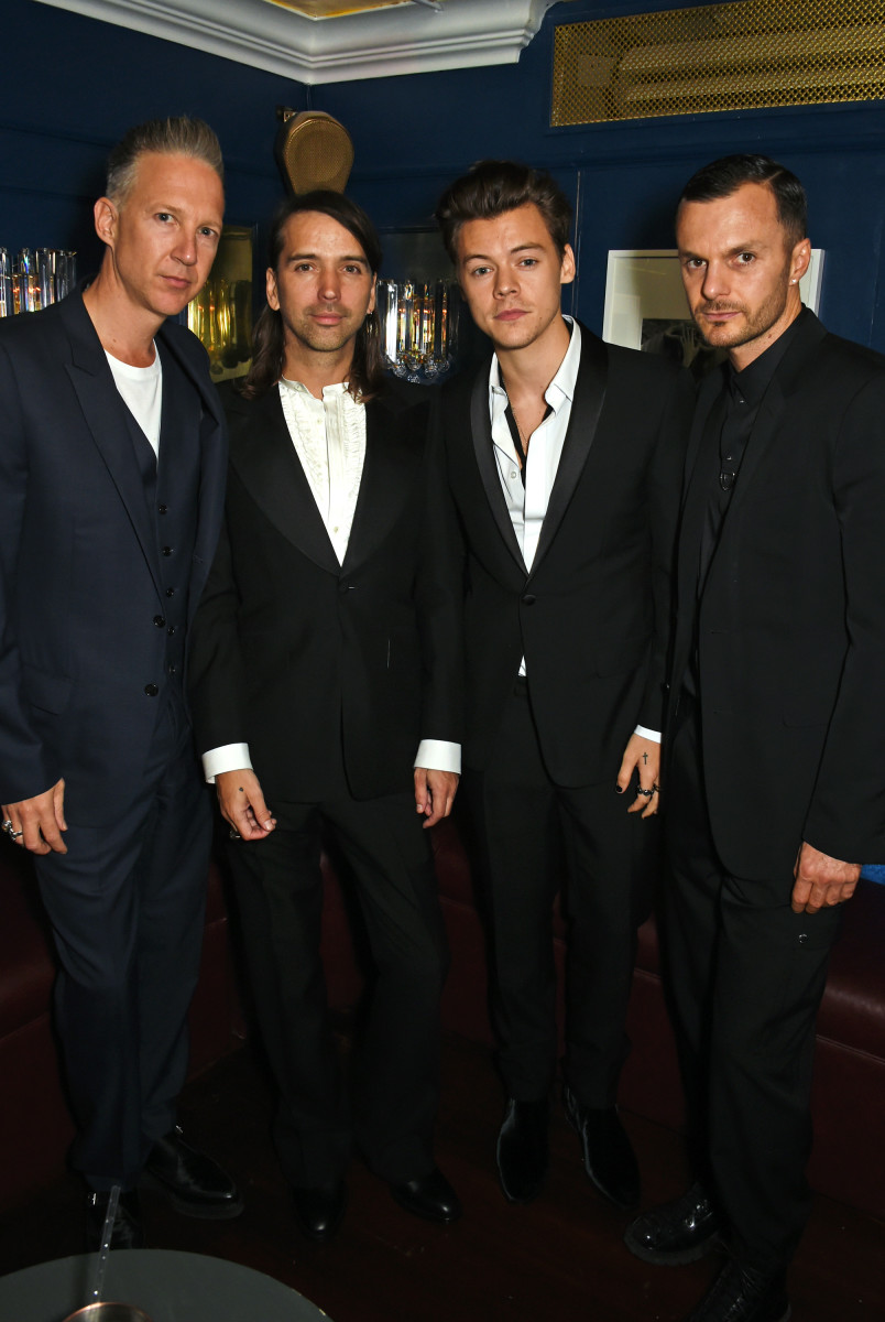 Jefferson Hack, Alister Mackie, Harry Styles and Kris Van Assche. Photo: David M. Benett/Getty Images