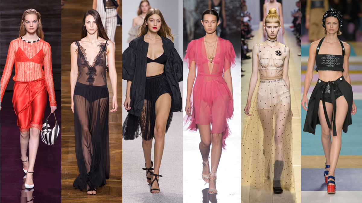 From left: Nina Ricci, Lanvin, Giambattista Valli, John Galliano, Dior and Miu Miu. Photos: Imaxtree