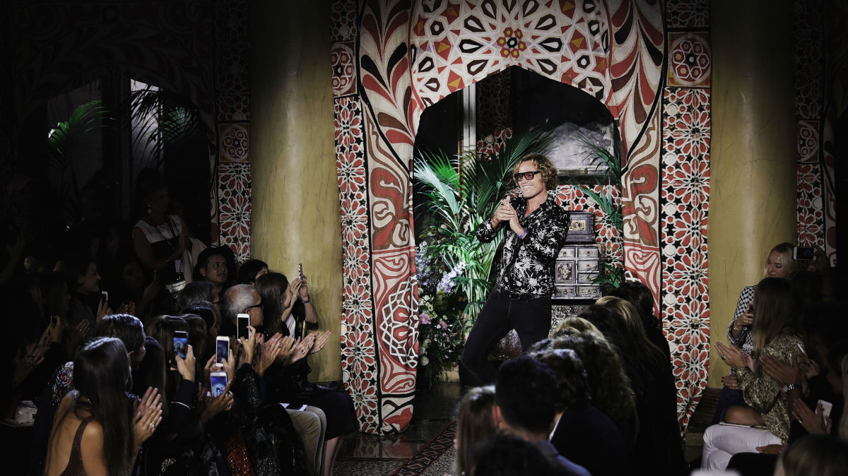 4d5e5a7bee Peter Dundas takes his final bow after Roberto Cavalli s spring 2017 show  in September. Photo