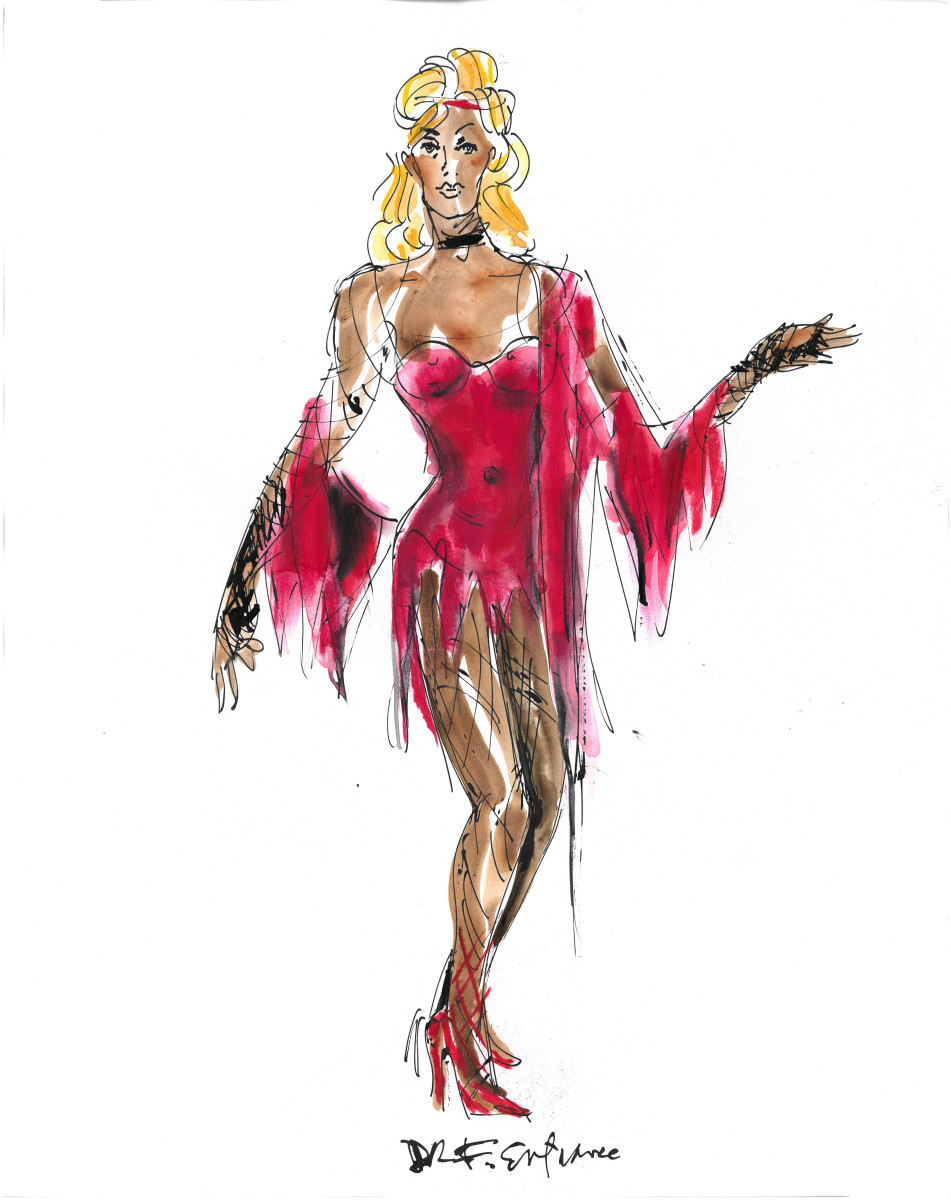 """I did a coagulated blood out of the red bugle beads,"" said Long. ""This was supposed to be a whole gown then we decided it would be a tunic, so we still wanted to see the legs."" Sketch: William Ivey Long"