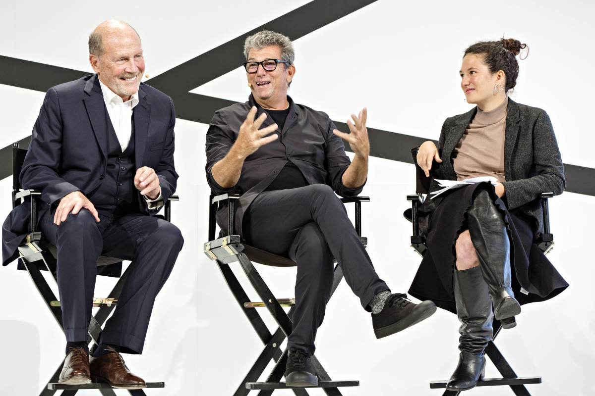 Lew Frankfort, Andrew Rosen and Lauren Sherman of 'Business of Fashion' at the 2016 Fashion Tech Forum. Photo: Fashion Tech Forum