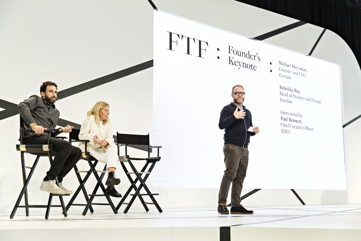 Everlane's Michael Preysman and Rebekka Bay on stage at the Fashion Tech Forum with Ideo CCO Paul Bennett. Photo: Fashion Tech Forum
