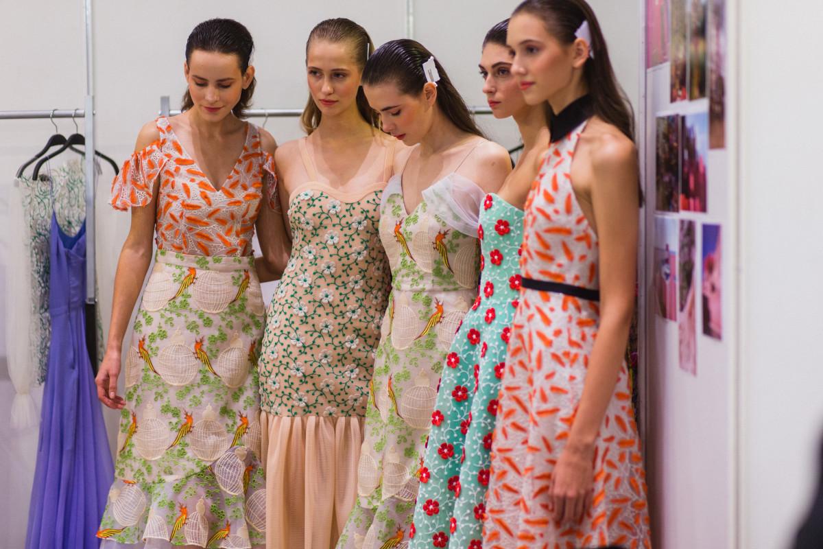Models backstage at Yasya Minochkina's spring 2017 runway show. Photo: Christian Vierig/Getty Images