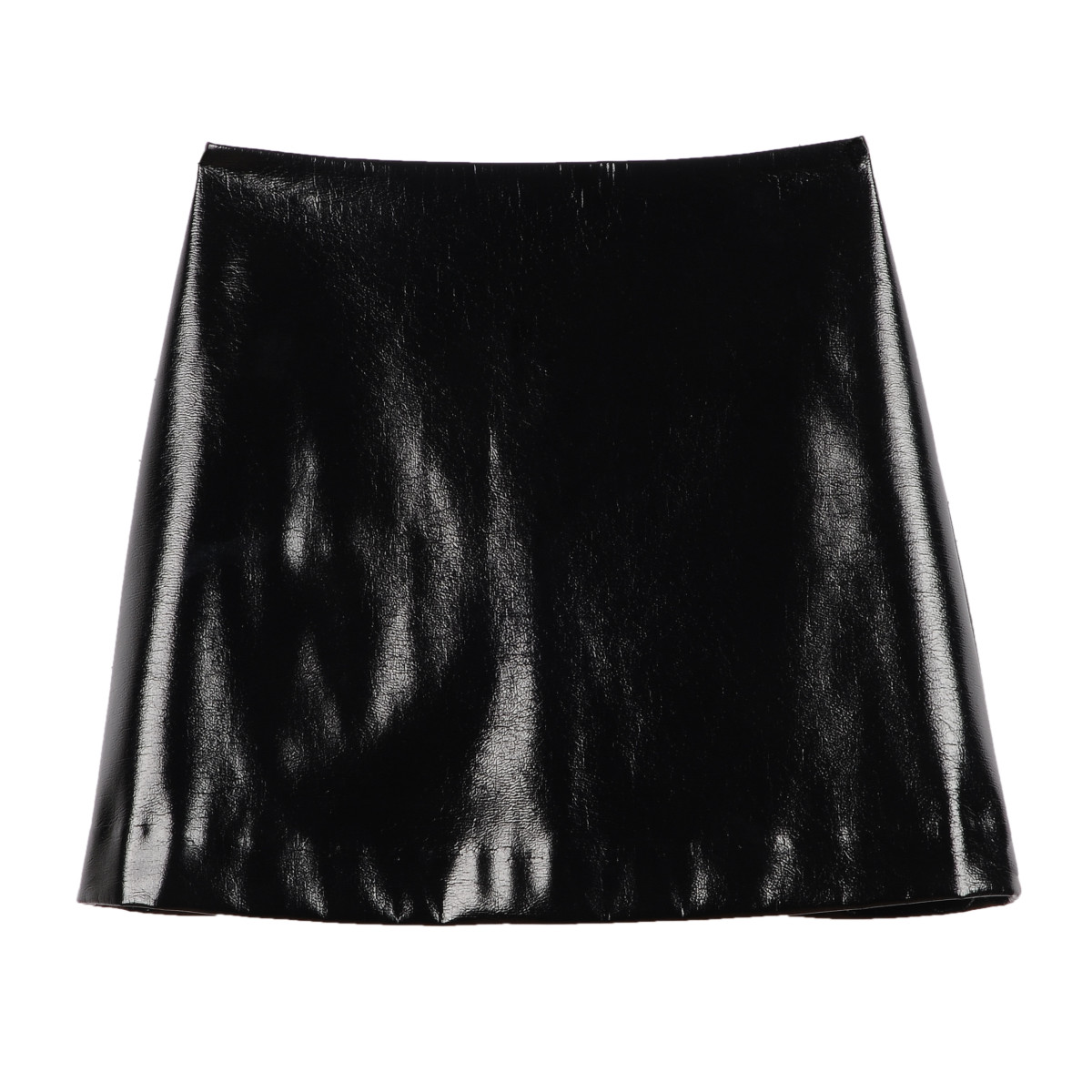 Black crackle patent A-line skirt, $49.90, available at Express.