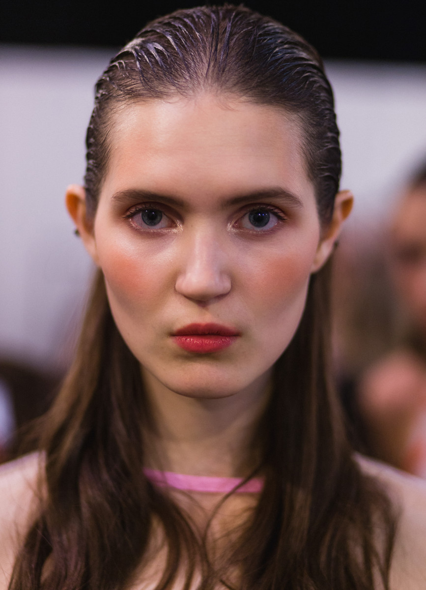 A model backstage at Yasya Minochkina's spring 2017 show during Mercedes-Benz Fashion Week Russia on Friday. Photo: Christian Vierig/Getty Images