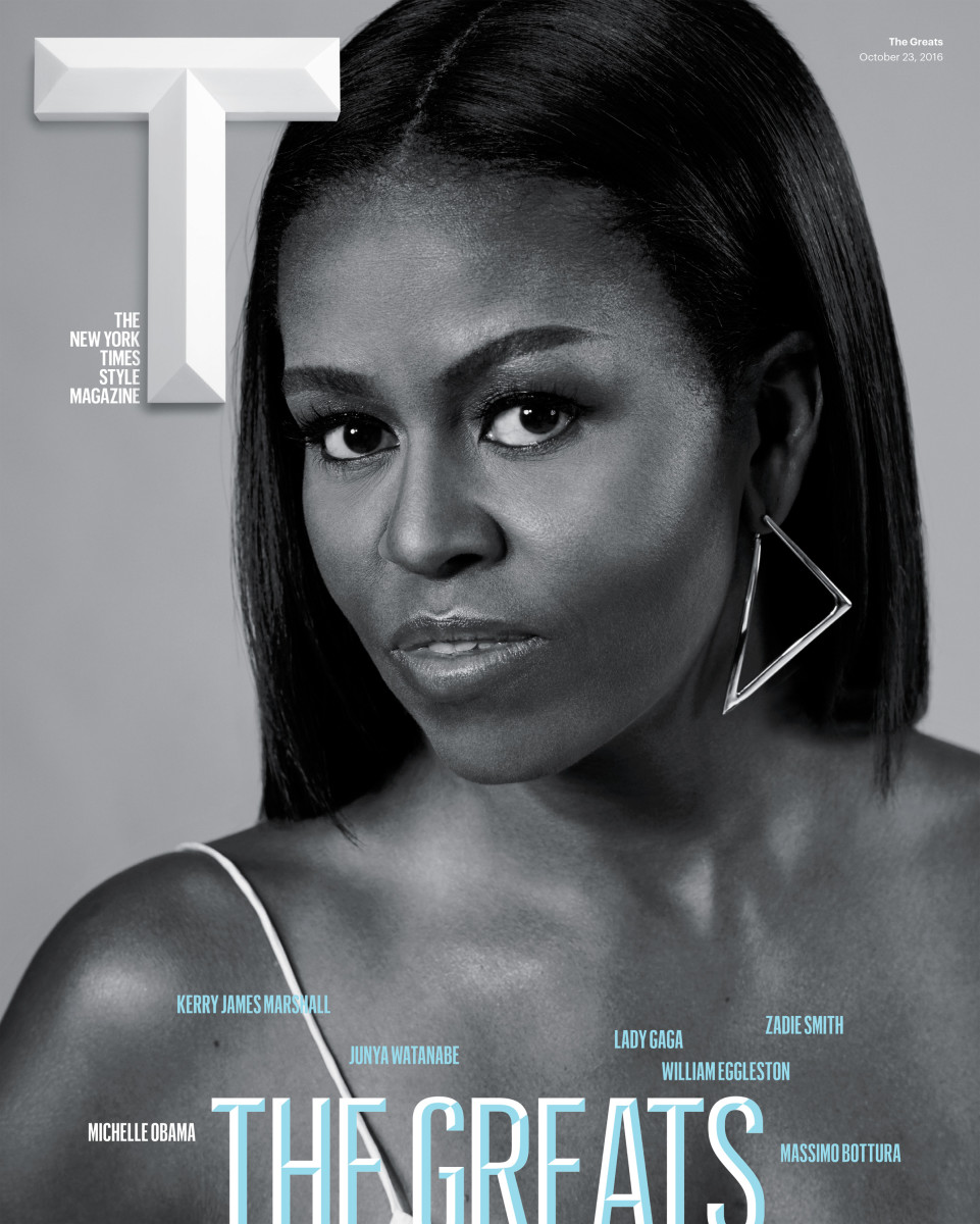 """Michelle Obama on cover of """"T Magazine""""'s """"The Greats Issue.""""Photo: Collier Schorr"""