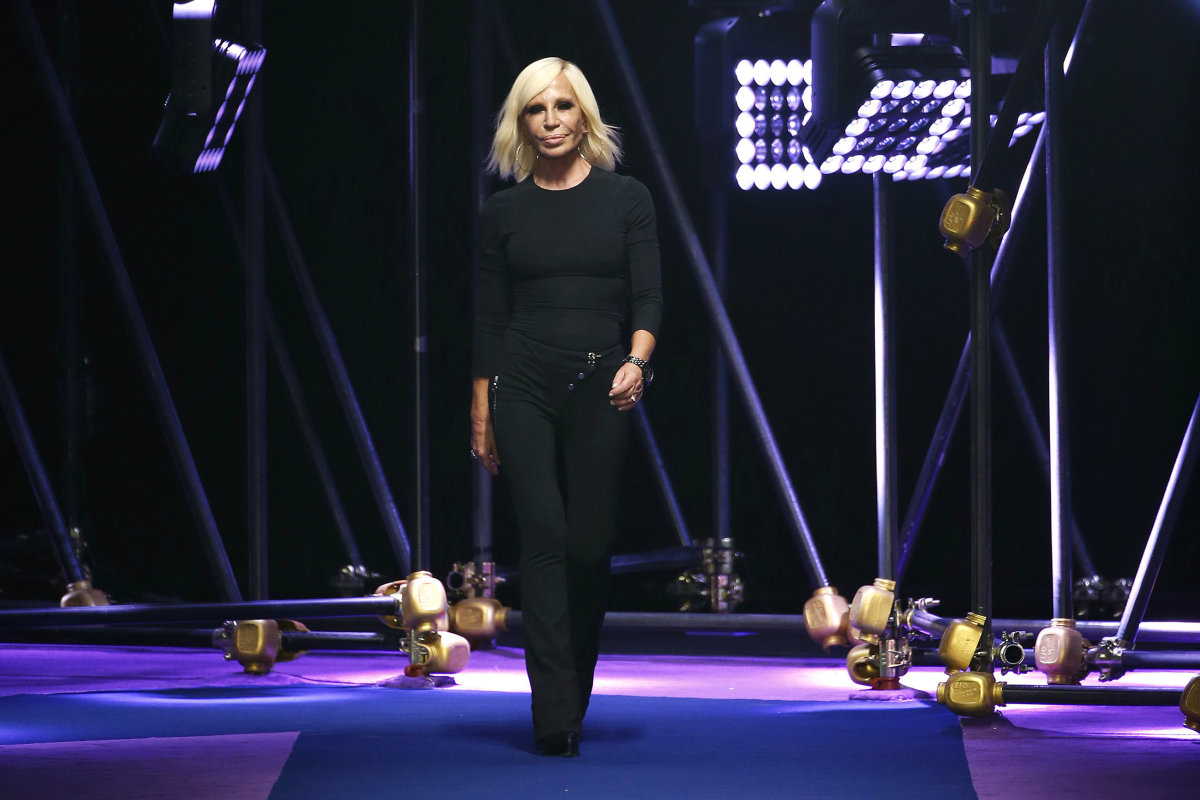 Donatella Versace at the spring 2017 Versace show in Milan. Photo: Estrop/Getty Images