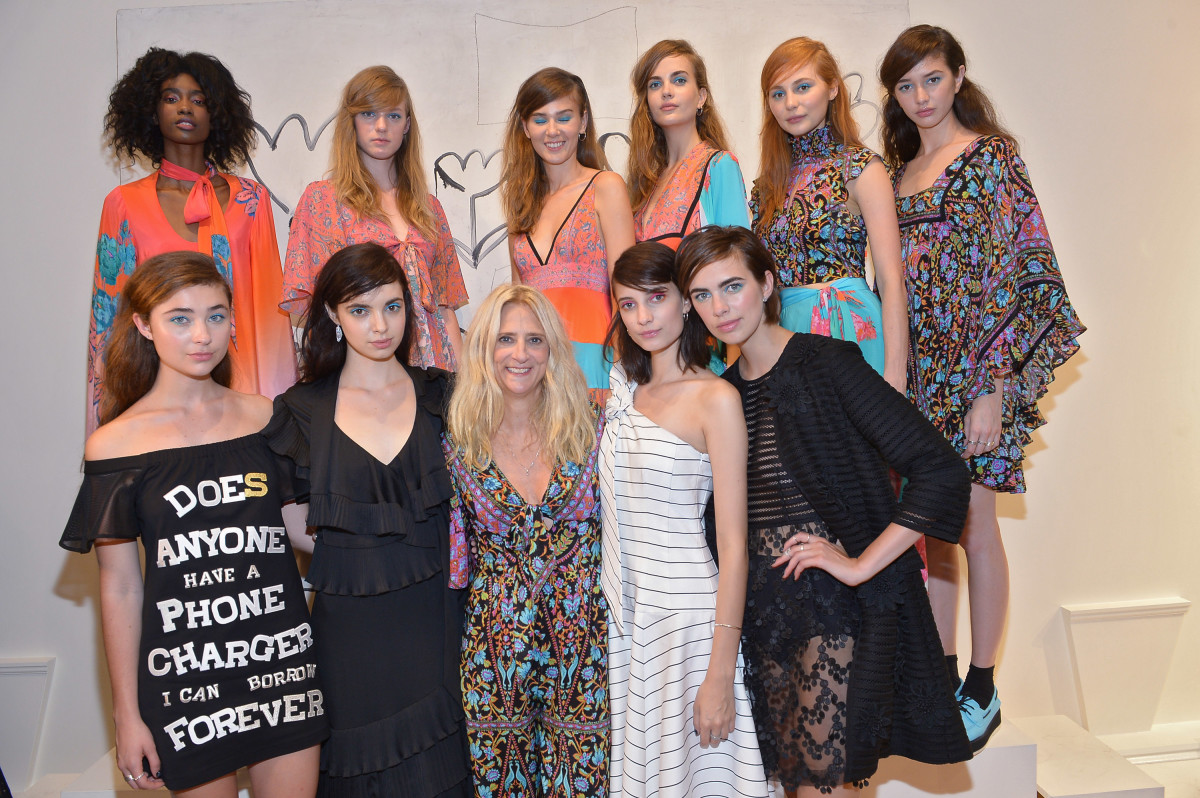Designer Nanette Lepore, center, with her spring 2016 collection, including a design from Eddie Eddie by Billy Tommy on the far left. Photo: Getty Images