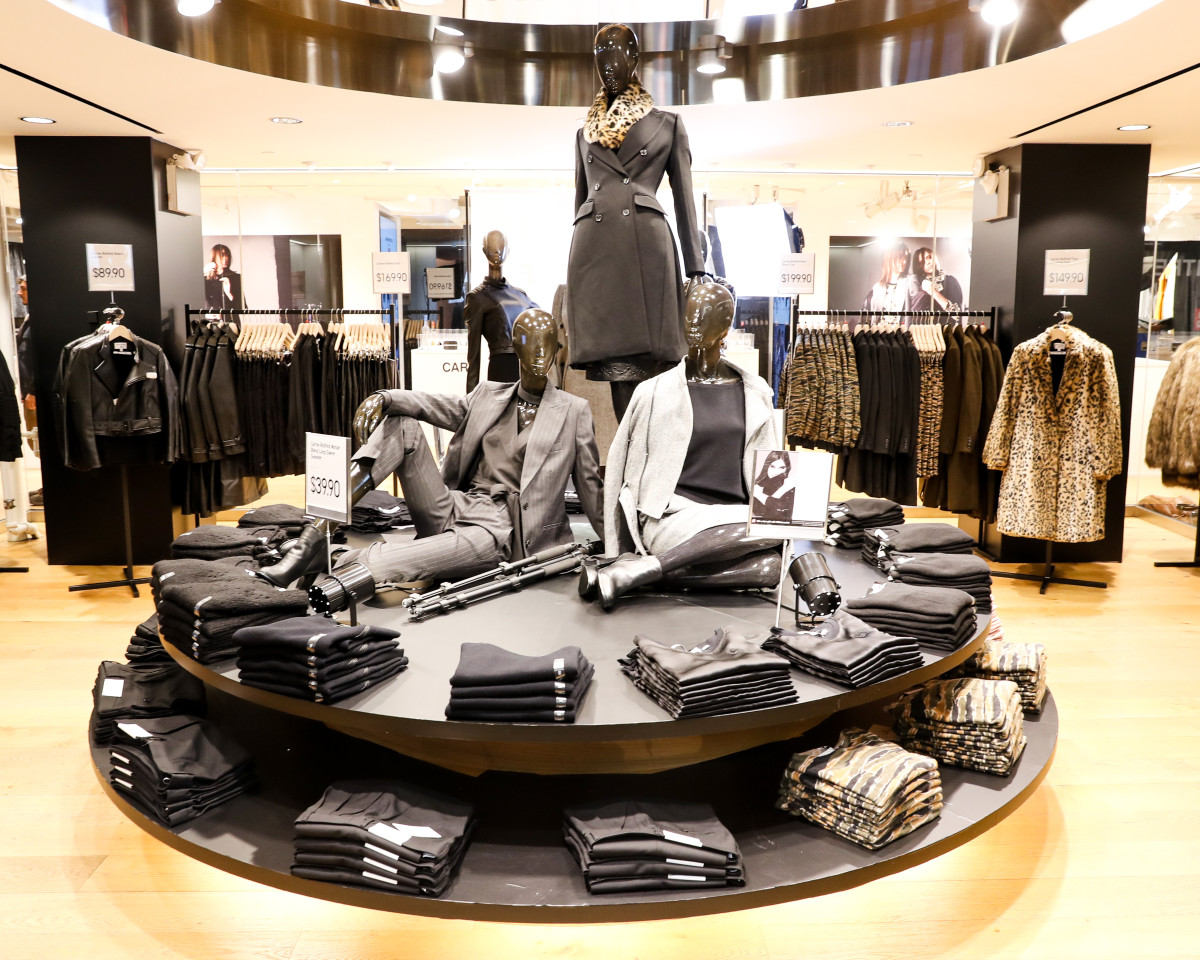 Carine Roitfeld's Uniqlo collection inside the brand's Fifth Avenue store. Photo: BFA/Neil Rasmus