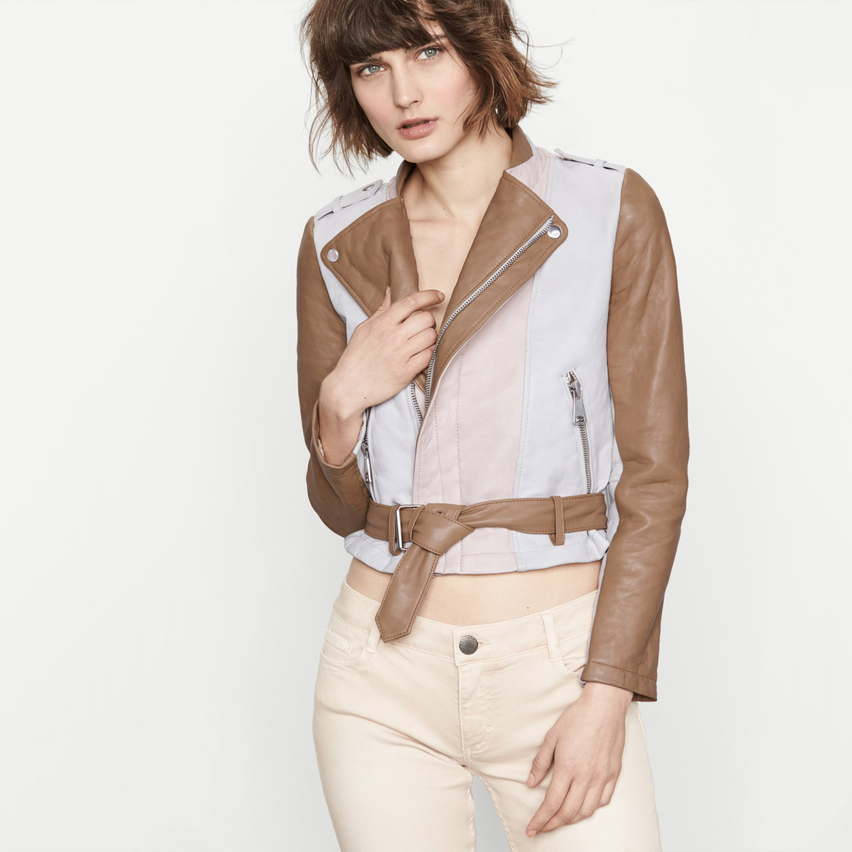 Maje cropped tricolour leather jacket, now $505, available at Maje.