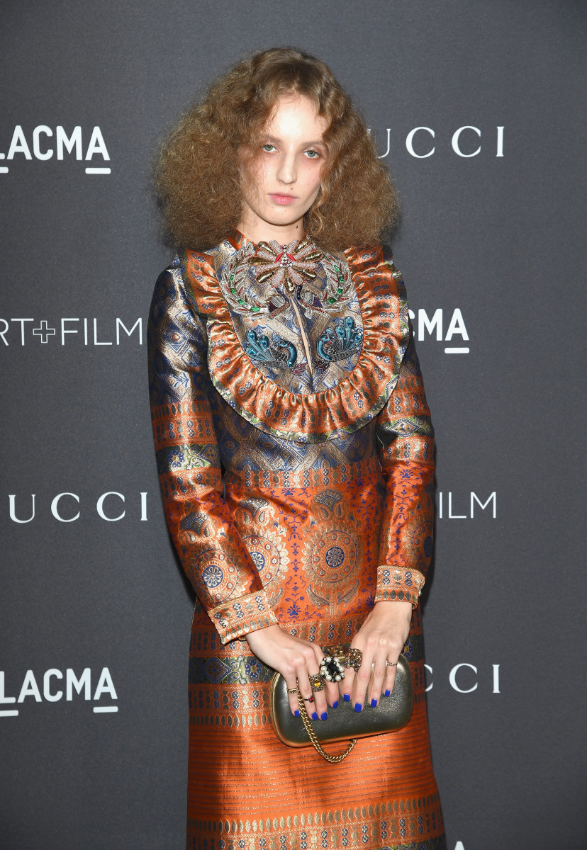 Petra Collins wears Gucci at the 2016 LACMA Art + Film Gala. Photo: Courtesy of Getty Images/Gucci