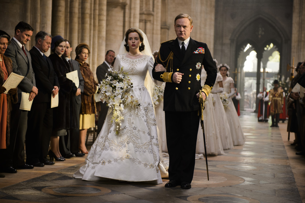 Elizabeth and her father, King George VI (Jared Harris) during her wedding. Photo: Netflix