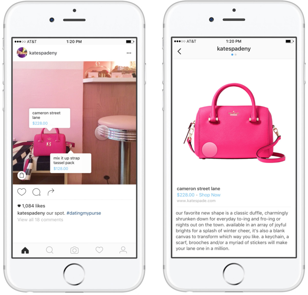 Mock-ups of Instagram shopping on Kate Spade New York's account (@katespadeny). Photo: Instagram