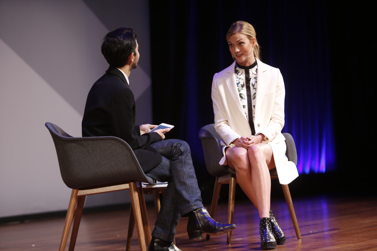 Karlie Kloss in conversation with Imran Ahed at Fast Company's Innovation Festival. Photo: Getty Images