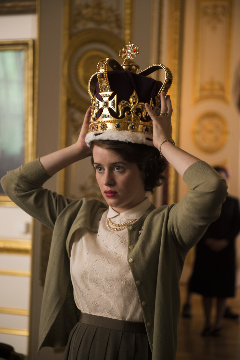 Elizabeth tries her crown on for size. Photo: Netflix