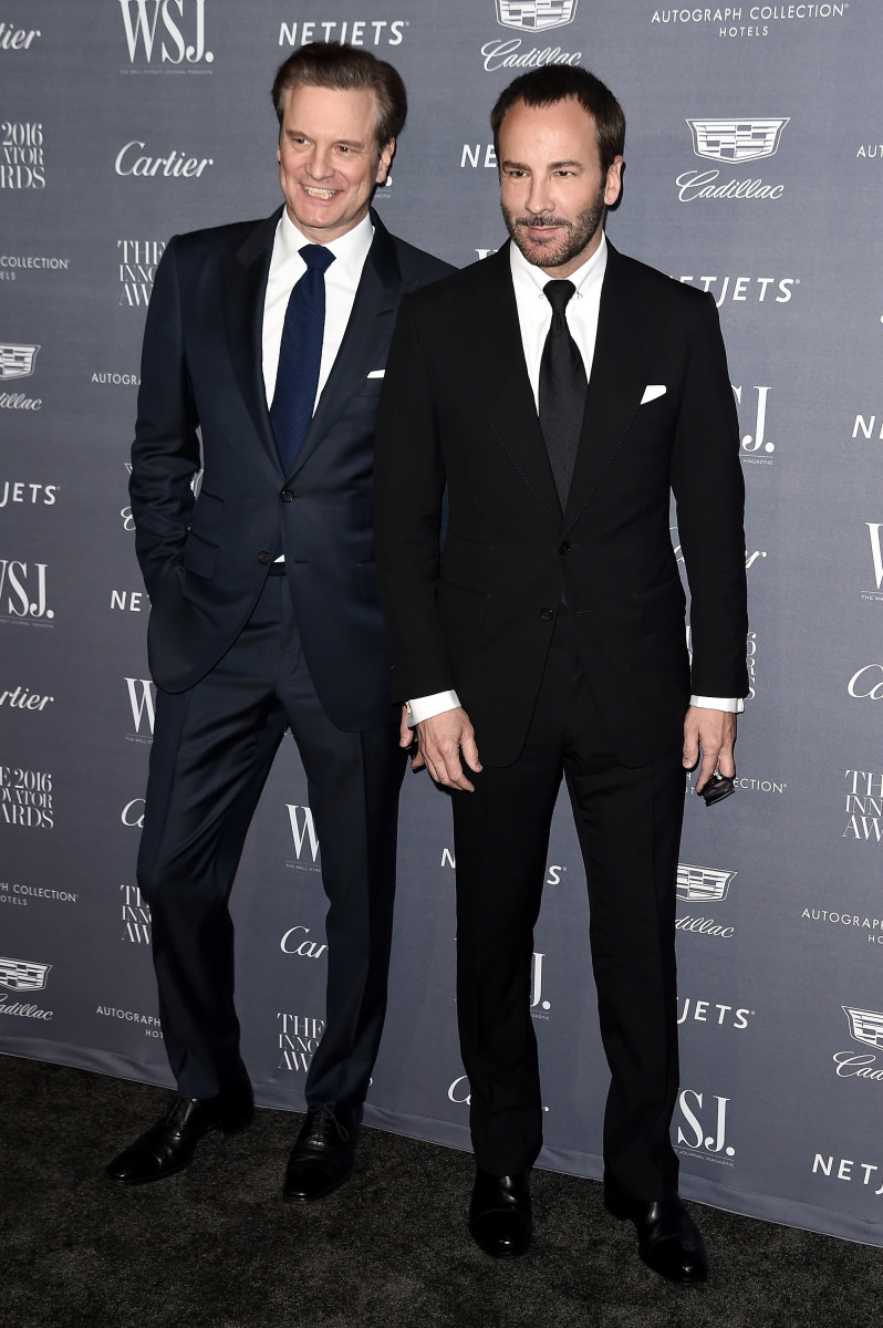 Award presenter Colin Firth and film honoree Tom Ford at the WSJ Innovator Awards. Photo: Nicholas Hunt/Getty Images
