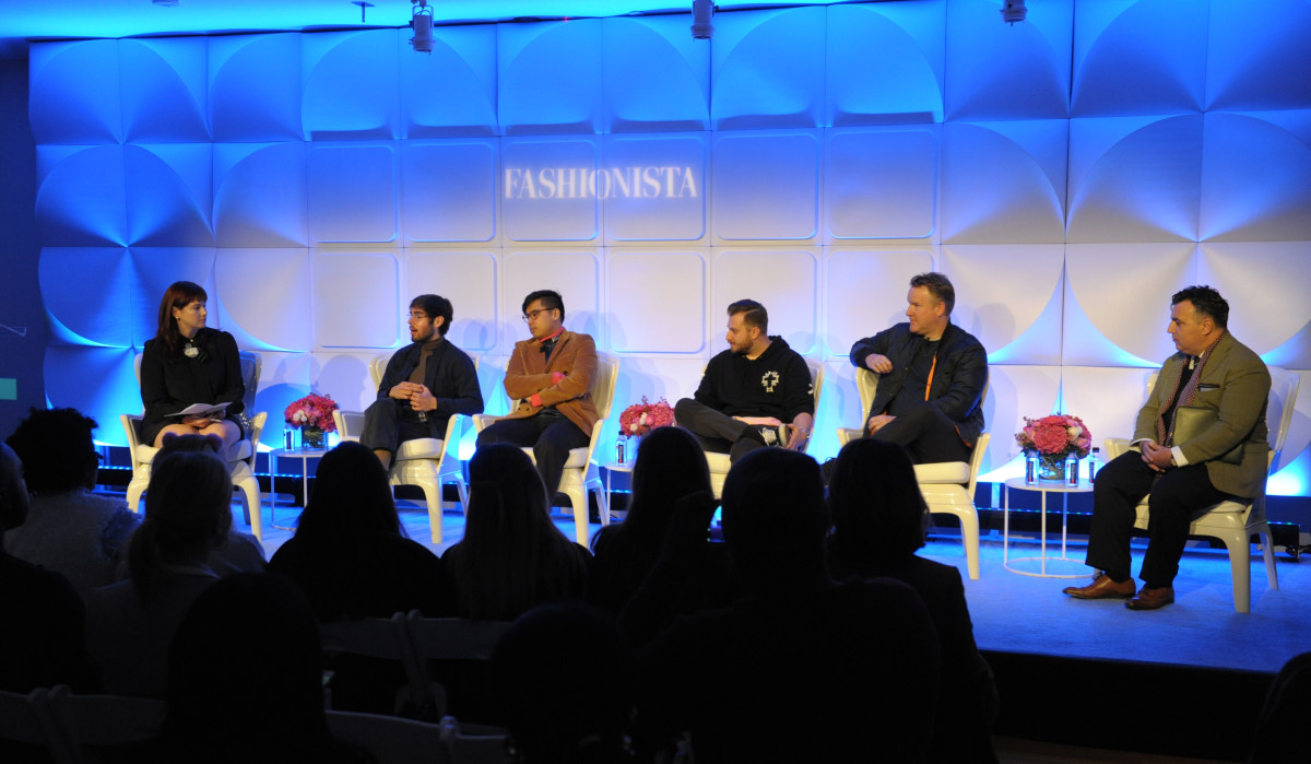 Fashionista Deputy Editor Tyler McCall with the menswear panel at FashionistaCon 2016. Photo: Arnold Soshkin/Fashionista
