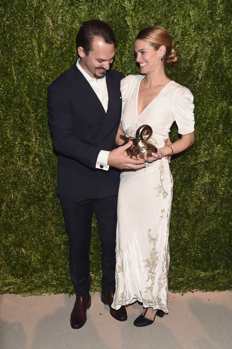 Kristopher Brock and Laura Vassar with their CFDA/Vogue Fashion Fund Award. Photo: Getty Images