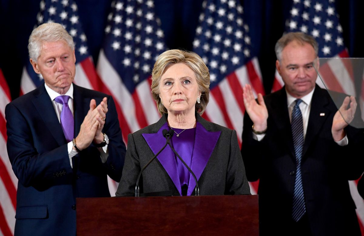 Hillary Clinton makes a concession speech as former President Bill Clinton look on in New York on Wednesday. Photo: Jewel Samad/AFP/Getty Images
