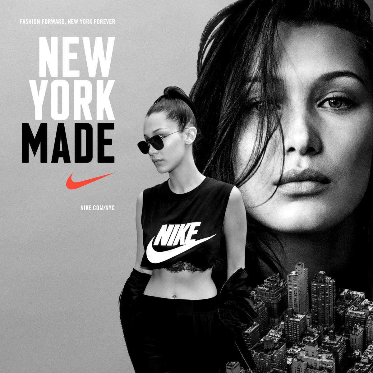 "Bella Hadid for Nike's ""New York Made"" campaign. Photo: Nike"