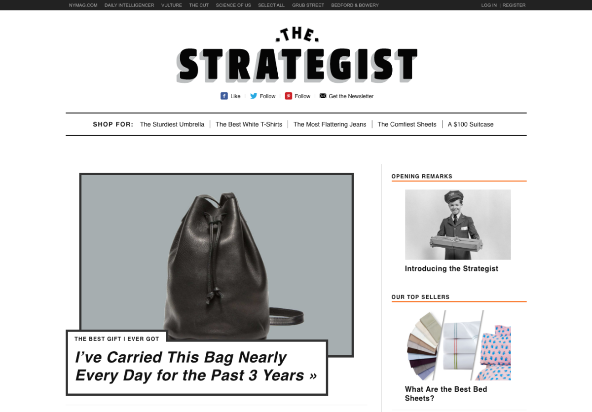 The Strategist's homepage. Photo: Screenshot