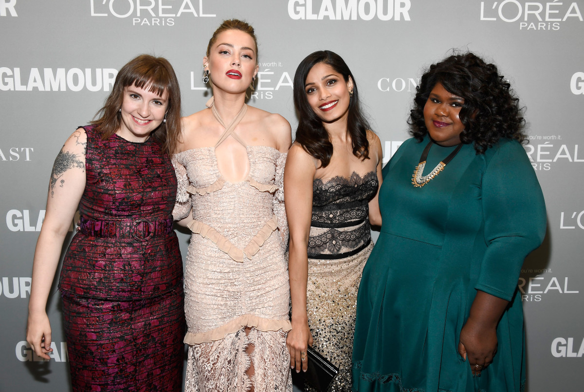Lena Dunham, Amber Heard, Freida Pinto and Gabourey Sidibe at the 'Glamour' Women of the Year Awards. Photo: Frazer Harrison/Getty Images