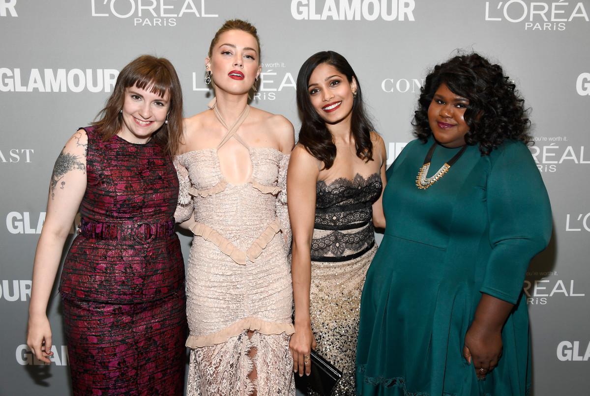 Lena Dunham, Amber Heard, Freida Pinto and Gabourey Sidibe at the 'Glamour' Women of the Year Awards. Photo: Frazer Harrison/Getty Images