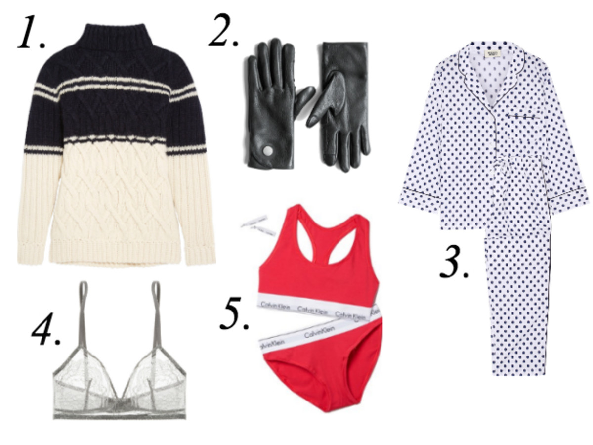 1. J.Crew Edna Cable-Knit Turtleneck Sweater, $200, available at Net-a-Porter. 2. The Arrivals Aachen Deerskin Glove, $95, available at The Arrivals. 3. Sleepy Jones Marina Swiss-Dot Cotton-Poplin Pajama Set, $285, available at Net-a-Porter. 4. Eres Montsouris Mabillon Chantilly Lace Soft-Cup Triangle Bra, $300, available at Net-a-Porter. 5. Calvin Klein Modern Cotton Gift Set, $48, available at Shopbop.