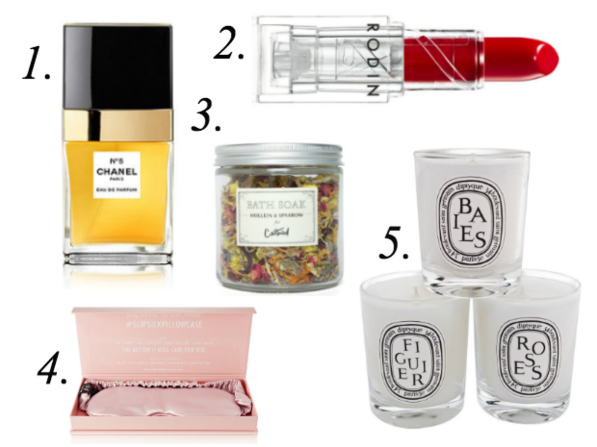 1. Chanel N°5 Eau de Parfum Travel Spray, $76, available at Sephora. 2. Rodin Red Hedy Lipstick, $38, available at Barneys New York. 3. Mullein & Sparrow for Catbird Bath Soak, $22, available at Catbird. 4. Slip Silk Eye Mask, $45, available at Net-a-Porter. 5.  Diptyque Votive Candle Set, $90, available at Nordstrom.