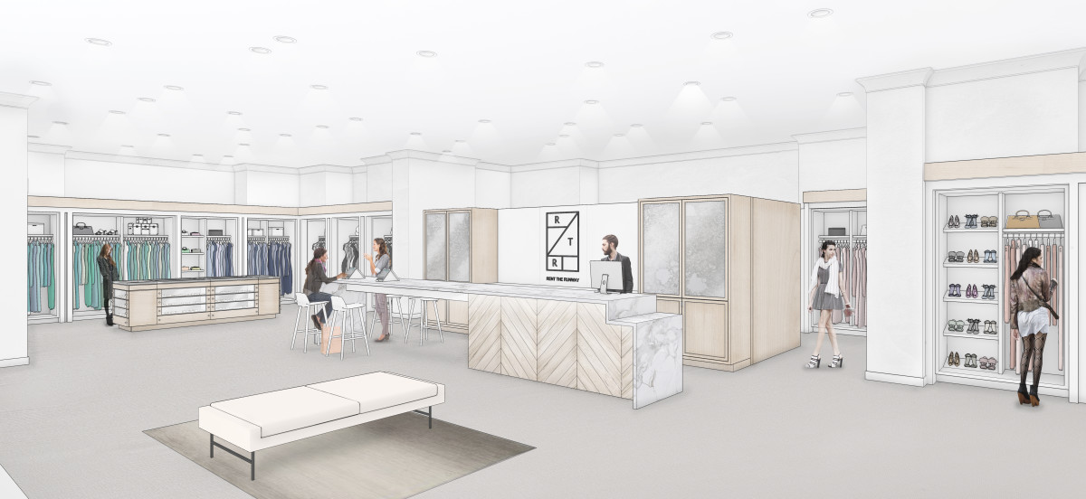 A rendering of the Rent the Runway location inside Neiman Marcus San Francisco. Photo: courtesy
