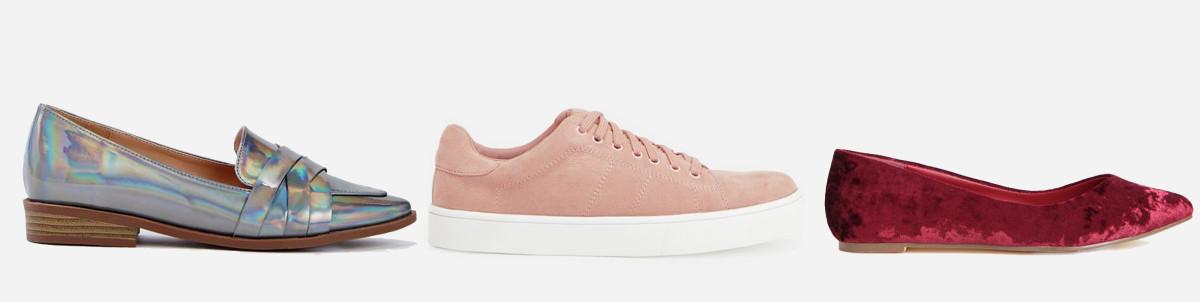 L-R: Raia loafer, $9.99 VIP/$59.95 Regular; Rusalka sneaker, $9.99 VIP/$59.95 Regular; Rainey flat, $7.49 VIP/$39.95 Regular