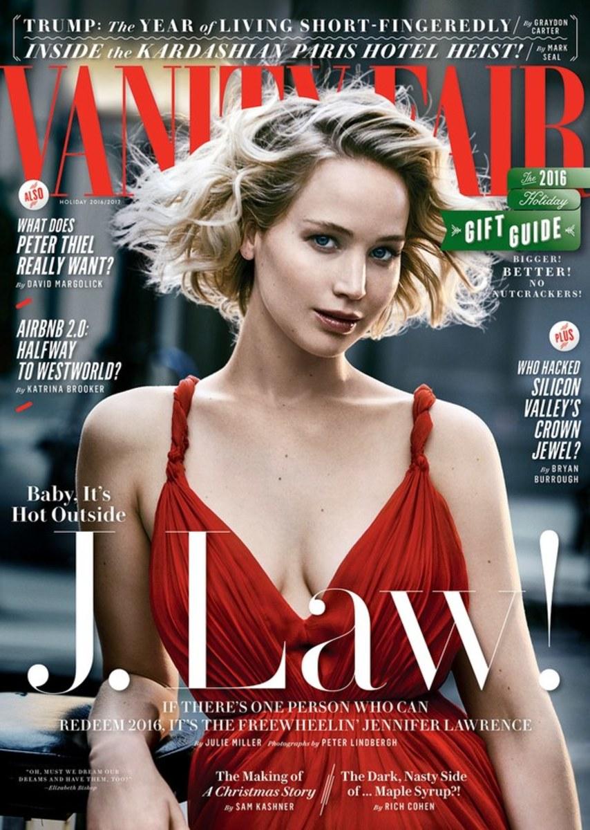 "Jennifer Lawrence on ""Vanity Fair,"" Holiday 2016. Photo: Peter Lindbergh/""Vanity Fair"""