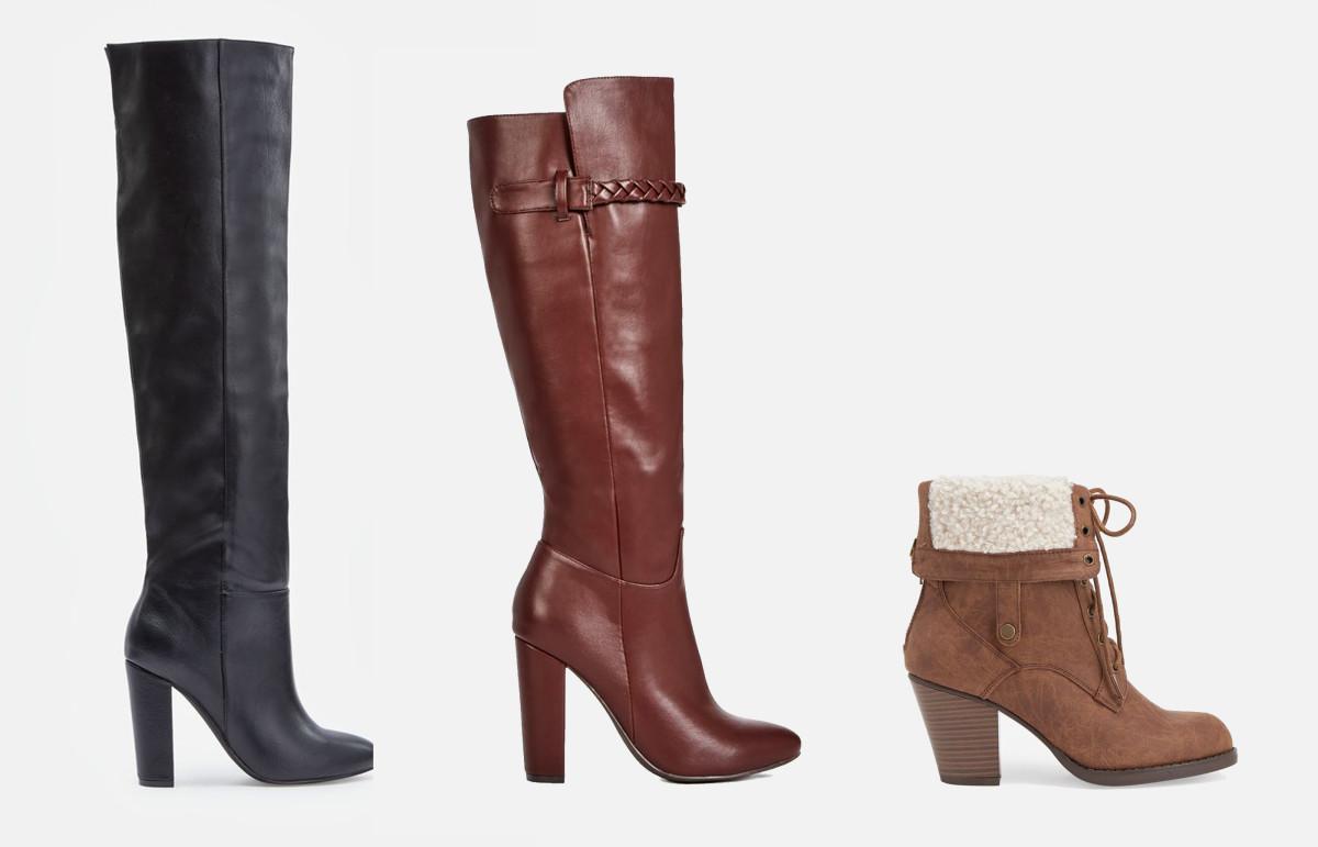 L-R: Geraldine boot, $10.74 VIP/$79.95 Regular; Zandra boot, $9.99 VIP, $64 Regular; Juhibootie, $10.74 VIP/$59.95 Regular