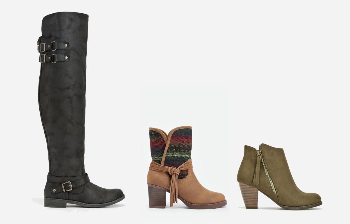 L-R: Carmona boot, $11.24 VIP/$80 Regular; Evy boot,$9.99 VIP/ $60 Regular; Analia bootie, $9.99 VIP/$59.95 Regular