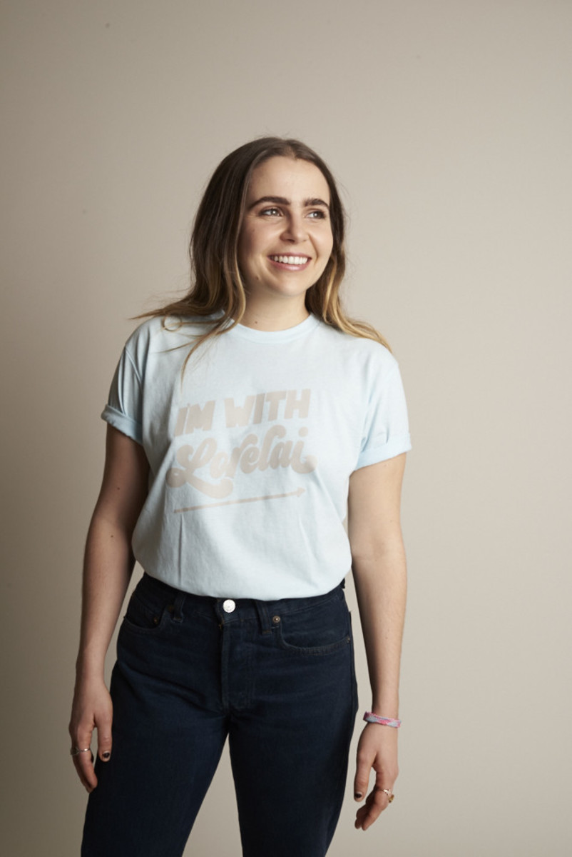 """Mae Whitman modeling Rachel Antonoff's """"I'm With Lorelai"""" Tee, $45, available at Rachel Antonoff(currently sold out)."""