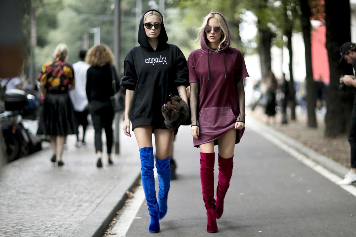 On the street at spring 2017 Milan Fashion Week. Photo: Imaxtree