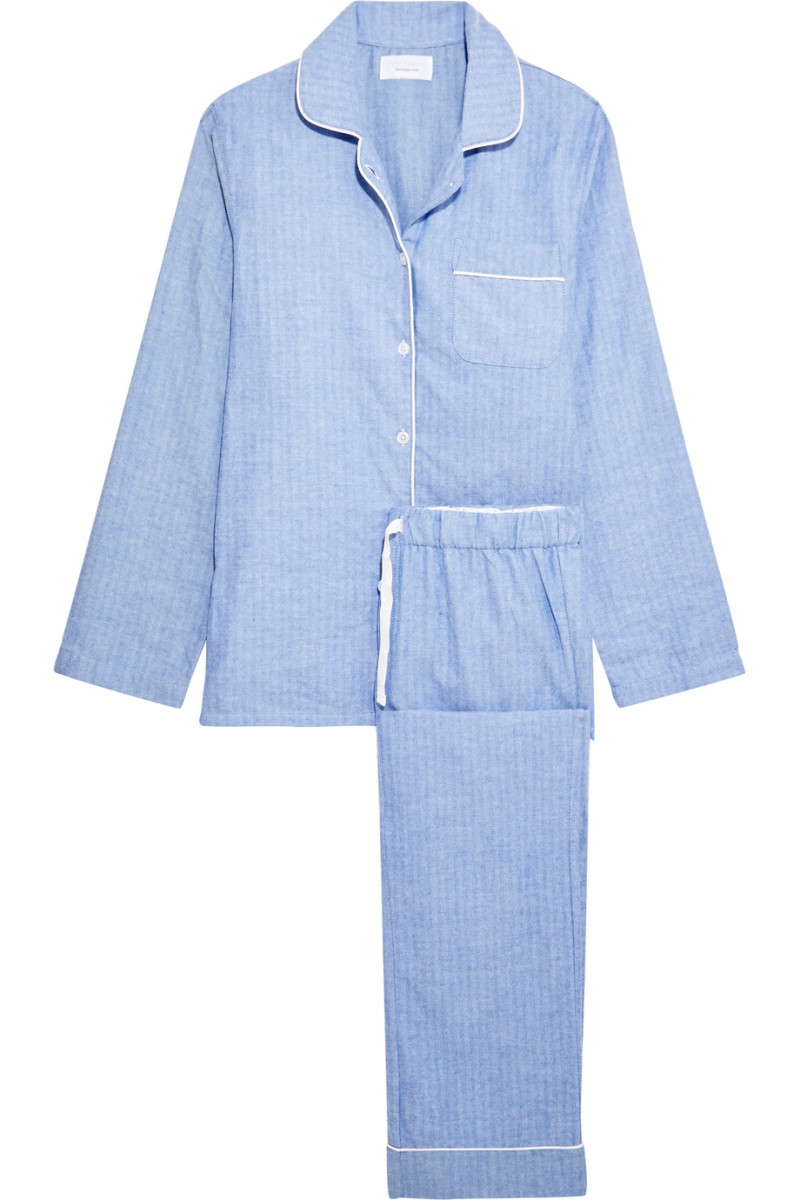 Three J NYC Jamie Cotton-Flannel Pajama Set, $120, available at Net-a-Porter.